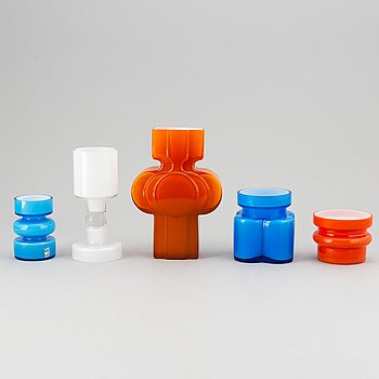 PO Ström, a set of five glass vases by Alsterfors Glassworks, 1960'-70's, two signed.