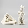 A set of two gustavsbergs parian figurines early 1900s.