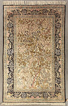 An old silk Ghom 205x135 cm.