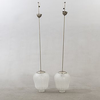 Ceiling lamps / Pendants, 2 pcs, probably Orrefors, glass domes, etched decor 1930s-40s.