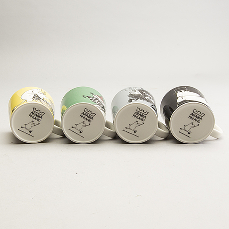 Moomin mugs, four pcs, porcelain, arabia, finland, 1990-2001.
