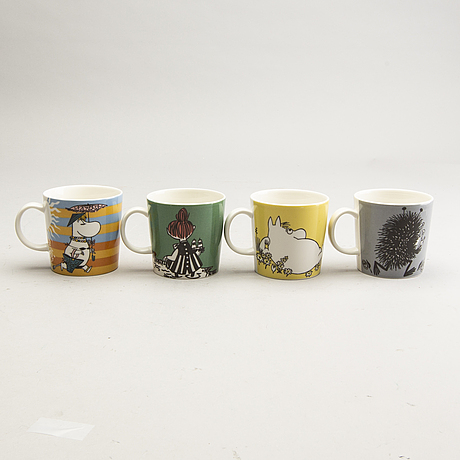 Moomin mugs, four pcs, porcelain, arabia, finland, 1990-2001.