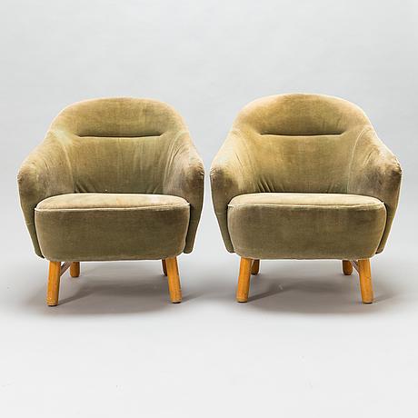 A pair o 1950's 'annukka' 1408 armchairs for asko.