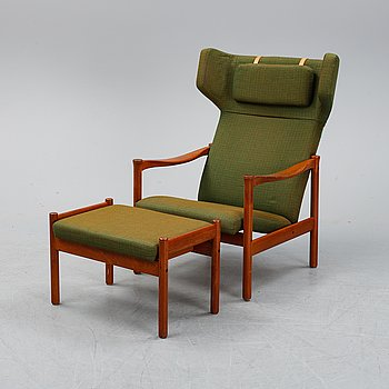 A 1950's-60's easy chair and stool.
