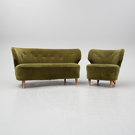 A sofa and easy chair, 1940s/50's.