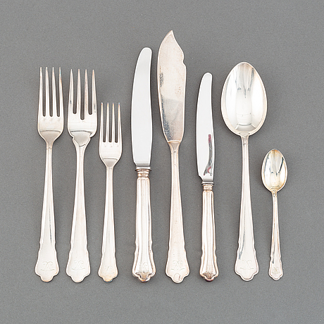 A swedish silver cutlery service, 'chippendale', some stockholm 1973. (133 pieces).