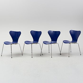 "A set of four ""Sjuan"" chairs, Arne Jacobsen for Fritz Hansen, Denmark, 1989."