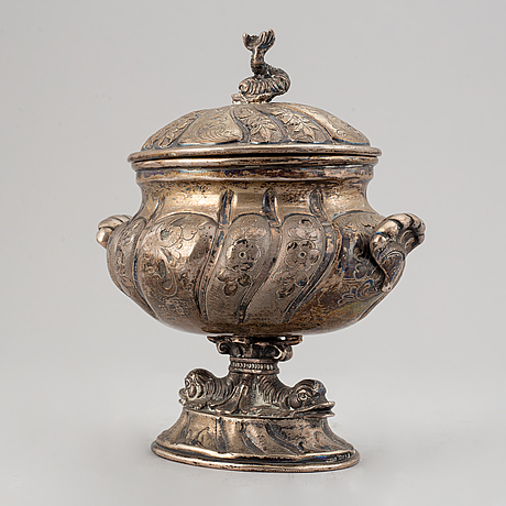An empire style lidded sugar bowl, possibly france, swedish import marks 1951.