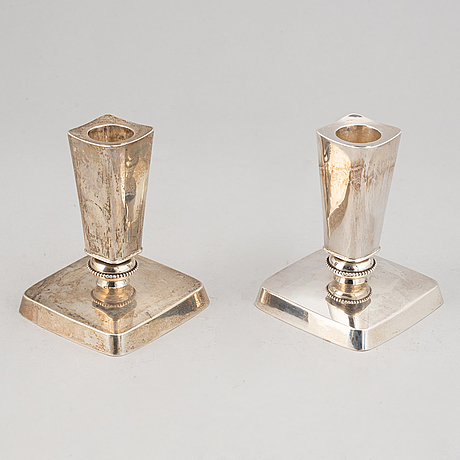 A pair of silver candlesticks, maker's mark tore kullander, borås, 1953.
