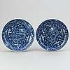 A pair of blue and white dragon dishes, modern.