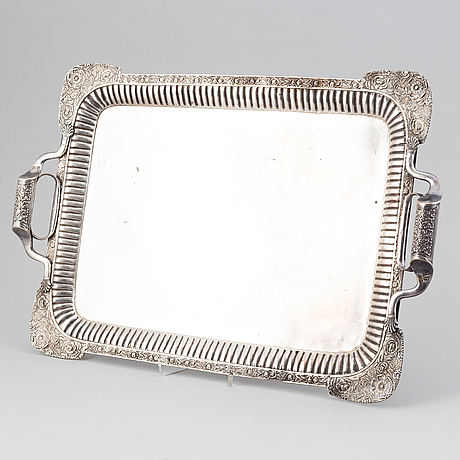 A russian silver tray, mark of johan henricson, st petersburg 1835.