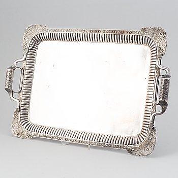 A russian silver tray, mark of Johan Henricson, St Petersburg 1835.