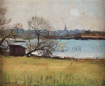 Eugène Jansson, olja på duk uppklistrad på papp-pannå, signerad Eugène Jansson. Utförd under slutet av 1880-talet.
