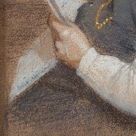 Eugène jansson, pastell, signerad eugène jansson. utförd omkring 1888.