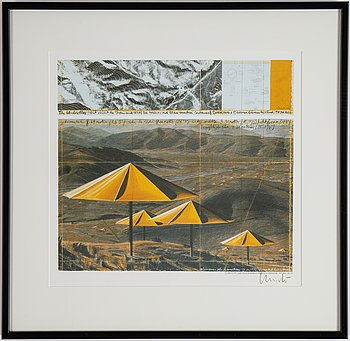 Christo & Jeanne-Claude, offset in colours, diptyk, 1991, signed.