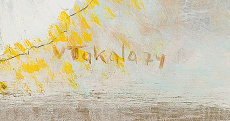 Veikko takala, öljy levylle, signeerattu ja päivätty -74.