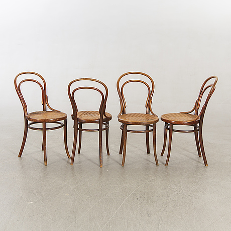 A set of four thonet chairs around 1900.