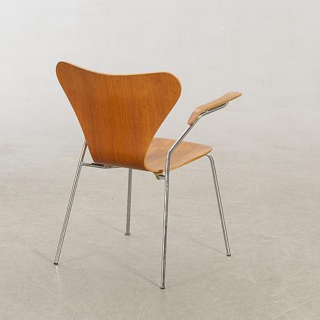 """Arne jacobsen, """"sjuan"""", teak, armchair, fritz hansen."""