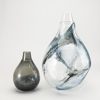 Eva Englund, 2 vases, glass, Pukeberg, 1960s.