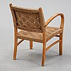 A swedish modern birch armchair, mid 20th century.