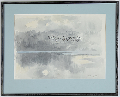 Gunnar brusewitz, akvarell, signerad och daterad 13 nov 1988.