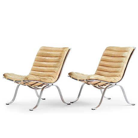 """Arne norell, a pair of """"ariet"""", easy chairs for norell möbel ab 1960-1970's."""