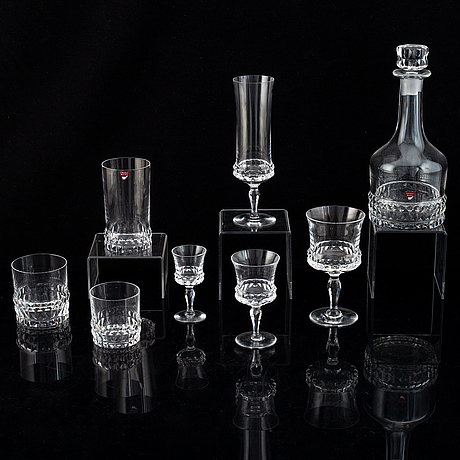 Ingeborg lundin, a part 'silvia' glass service, orrefors (51 pieces).