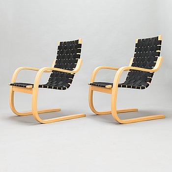 Alvar Aalto,  a pair of late 20th century '406' armchairs for Artek.