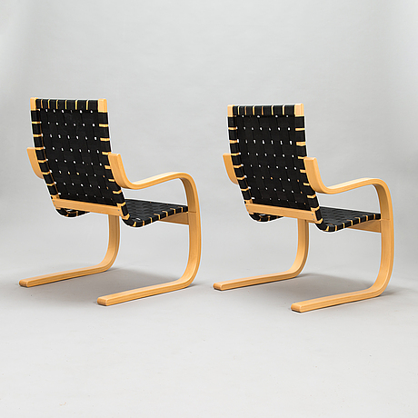 Alvar aalto,  a pair of late 20th century '406' armchairs for artek.