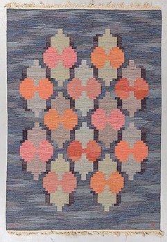 "Judith Johansson, a carpet, ""Lyktor"" probably, flat weave, ca 202,5-204,5 x 139-140,5 cm, signed JJ."