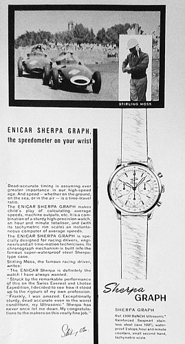 "Enicar, sherpa graph, chronograph, ""mark 1a"", ""gladius hands"", ""tachymetre base 1000"", ""stirling moss""."