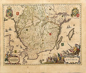 Joan Blaeu, map, colored copper engraving, ca 1635.