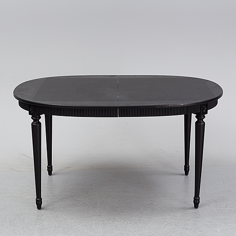 A painted gustavian style dining table, second half of the 20th century.