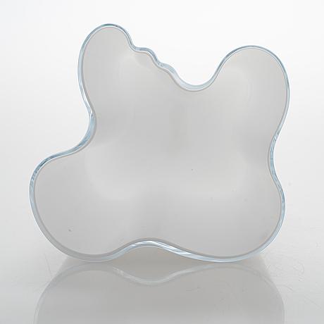 Alvar aalto, a white mould blown glass vase, iittala, finland, model 3031.