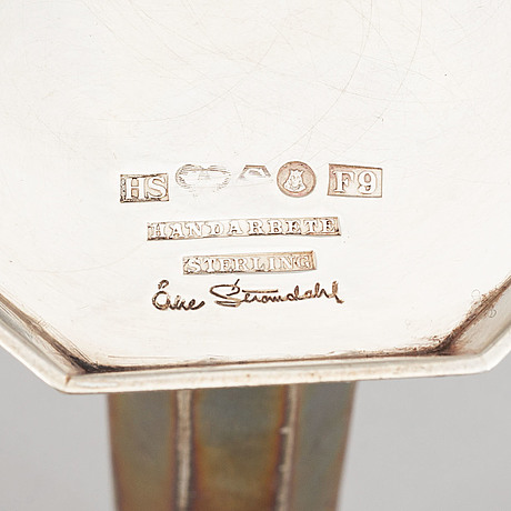 Åke strömdahl, a pair of sterling candlesticks, hugo strömdahl stockholm 1956.