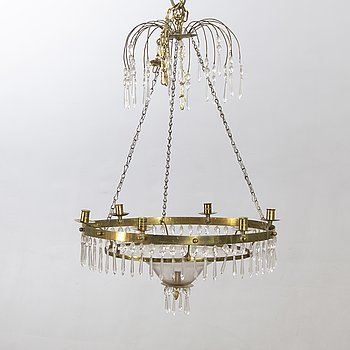 A late Gustavian chandelier around 1800.