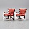 "Björn wiinblad & brita drewsen, a pair of ""la concha"" armchairs for ope möbler, seond half of the 20th-century."