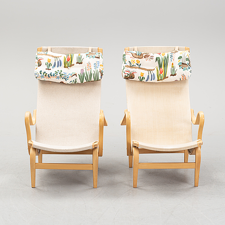 Bruno mathsson, a pair of 'pernilla' armchairs.