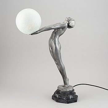 A 20th century art deco-style metal and glass table lamp.