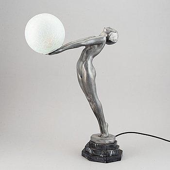 Bordslampa, vitmetall, art deco-stil, 1900-tal.