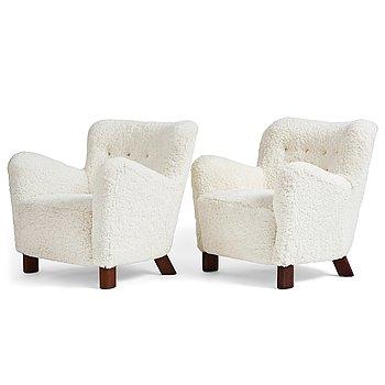 "417. Fritz Hansen, a pair of ""1669"", easy chairs, Denmark 1940's."