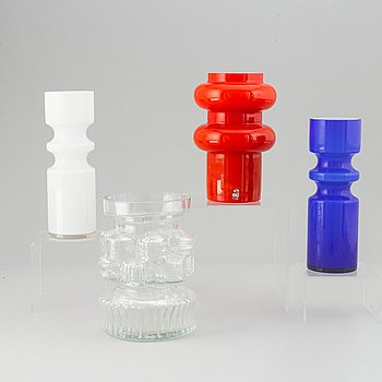 PO Ström, 4 glass vases, Alsterfors Glassworks ca 1970.