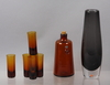 BrÄnnvinsflaska, snapsgals, 6 st, erik höglund, boda, samt vas, glas, orrefors.