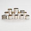 Twelve silver napkin rings, various hallmarks, 20th century.