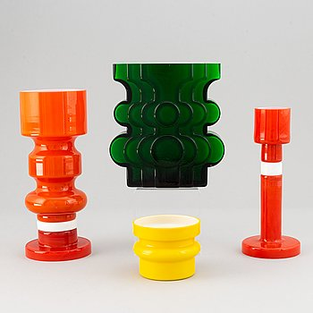 PO Ström, 4 glass vases, Alsterfors Glassworks, ca 1970.