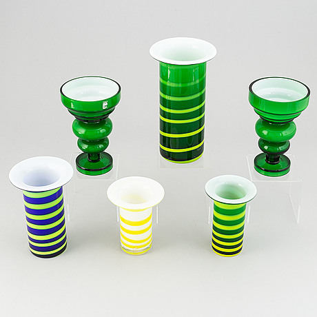 Po ström, 6 glass vases, alsterfors glassworks, ca 1970.