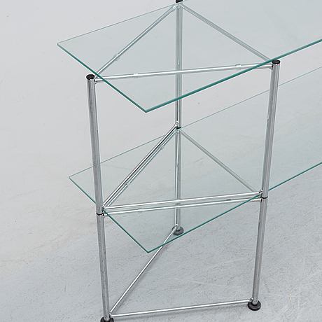A late 20th century glass and metal shelf / sideboard.