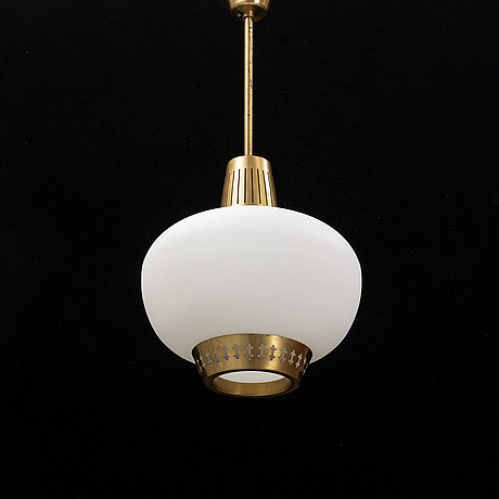Hans bergström, a brass and glass lamp.