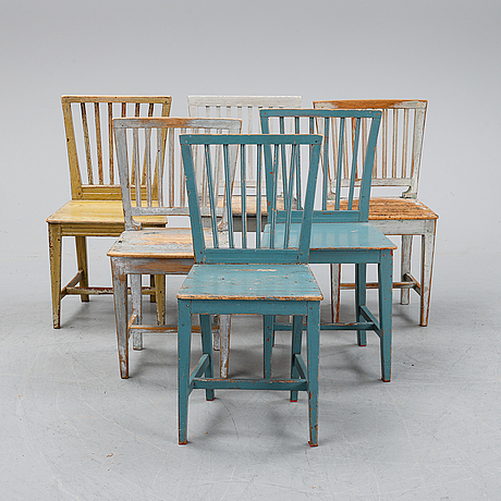 Six matched chairs, 19th century.
