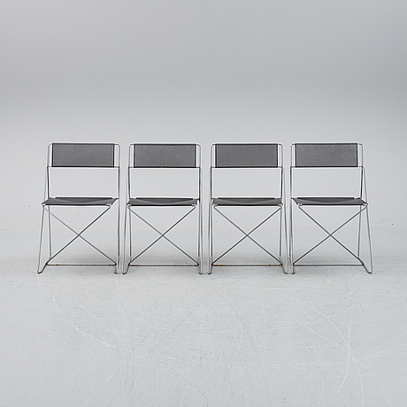 Four 'x-line' chairs by niels jorgen haugesen for magis, designed 1977.
